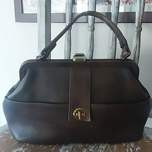 VINTAGE handmade brown leather handbag